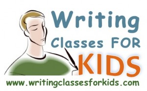 writing classes for kids logo with web address