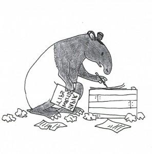 Tapir writing tips facing right