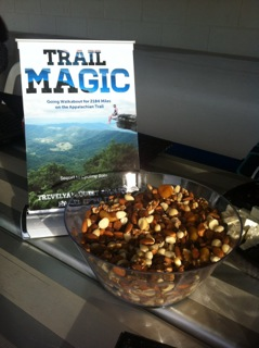 'Trail Magic'  'trail mix'  food.  Trail magic are the kindnesses freely offered to THRU walkers on the Appalachian Trail.
