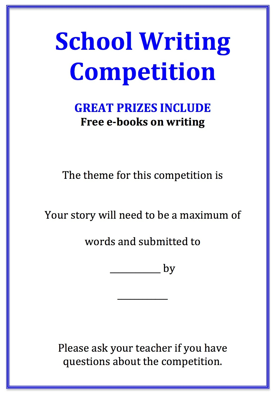 essay contest for adults 2014 The ttbf fiction writing contest is open to texas residents aged 11-18 years ( note: you  2016 glory and metal, by lily s the rose alliance, by layla p.